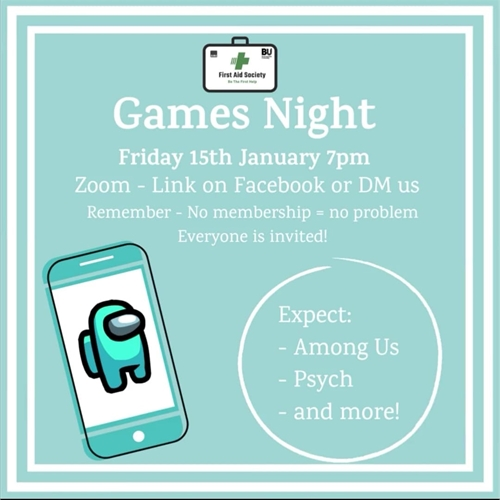 First Aid Society Games Night
